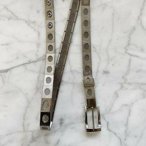 Vintage 1980s Skinny Metal Link Waist Hip Belt S/M